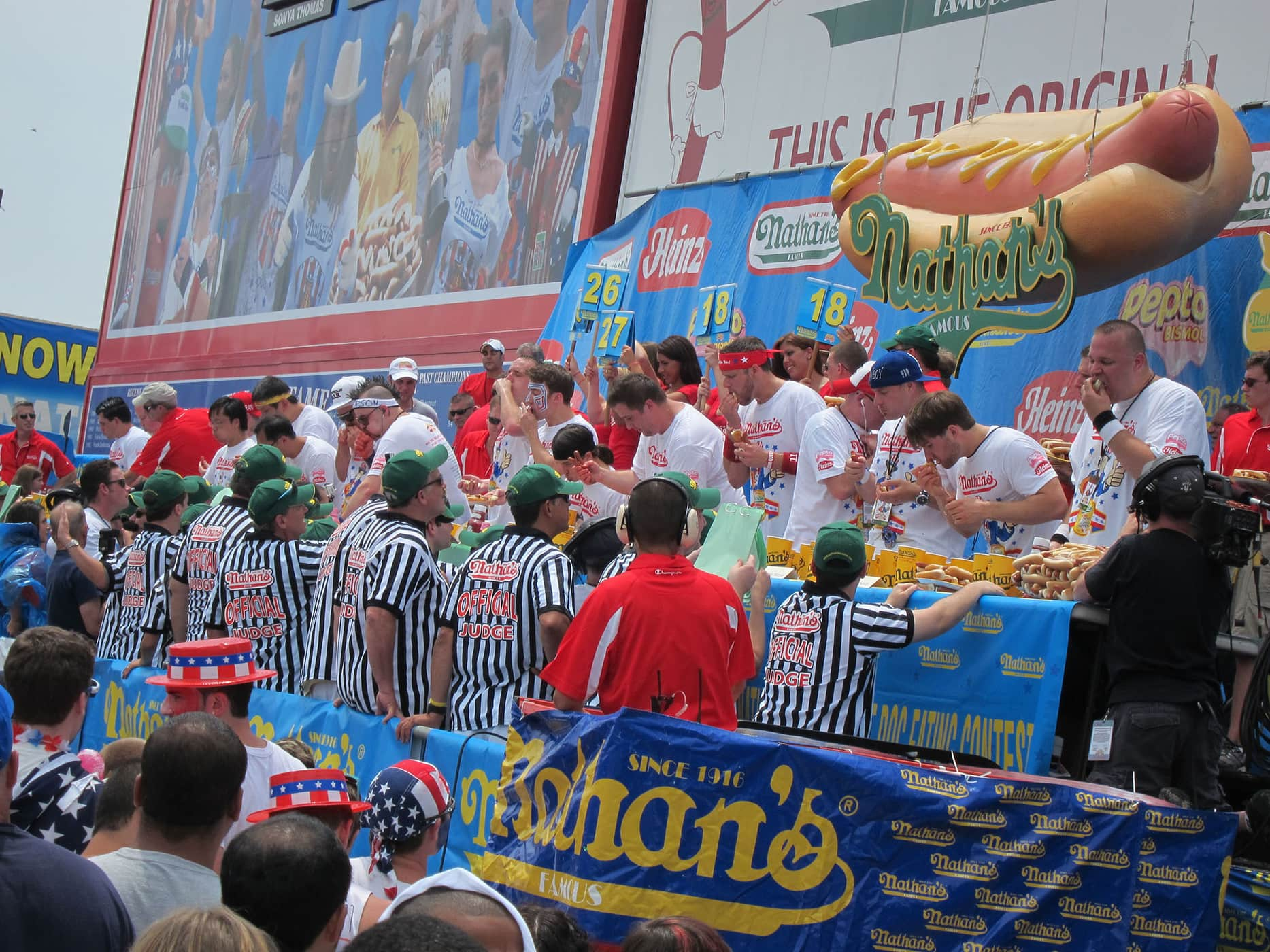 Tim Gravy Brown chokes at the July 4th hot dog eating contest