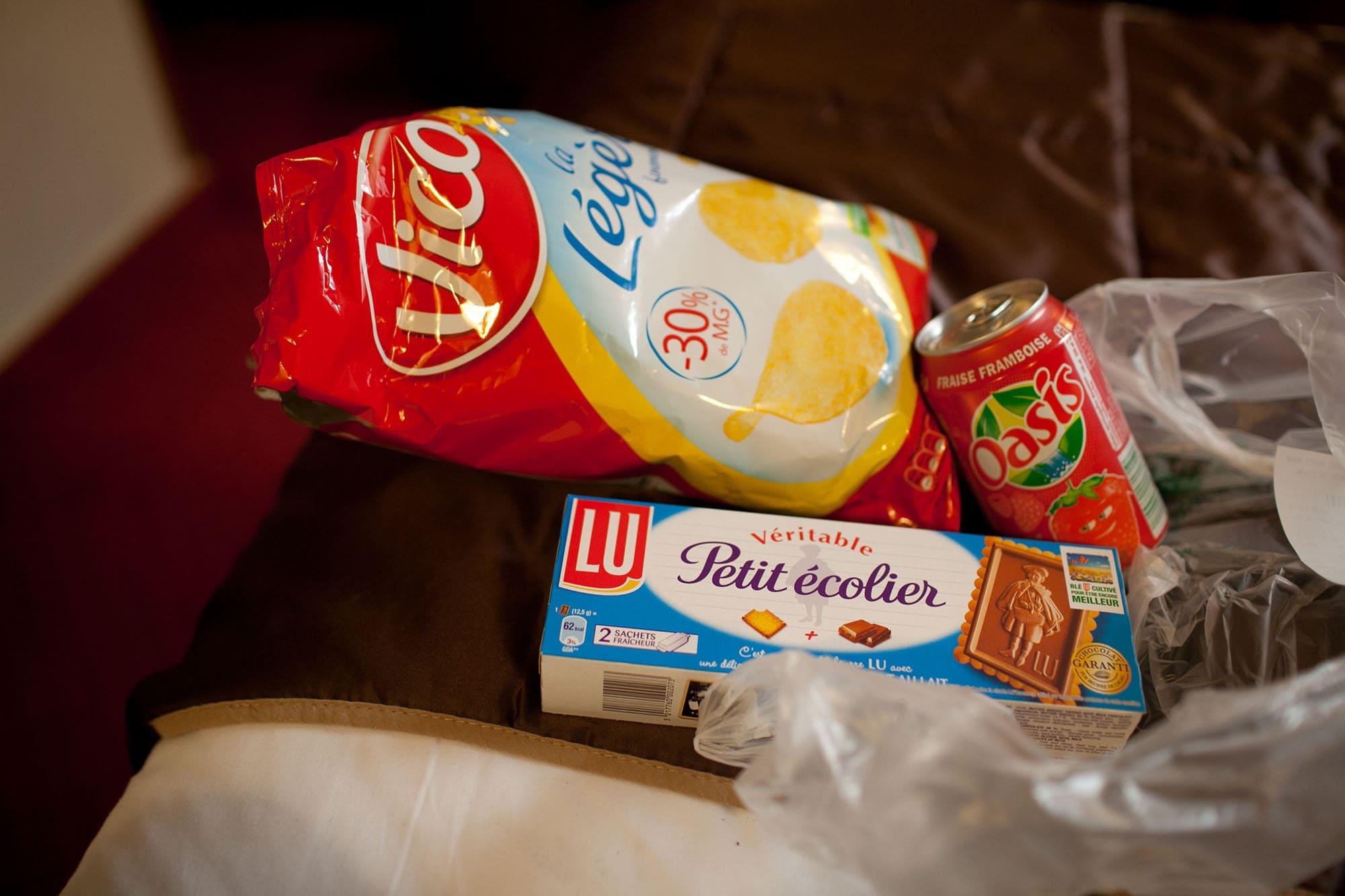 Snacks in my Paris hotel room.