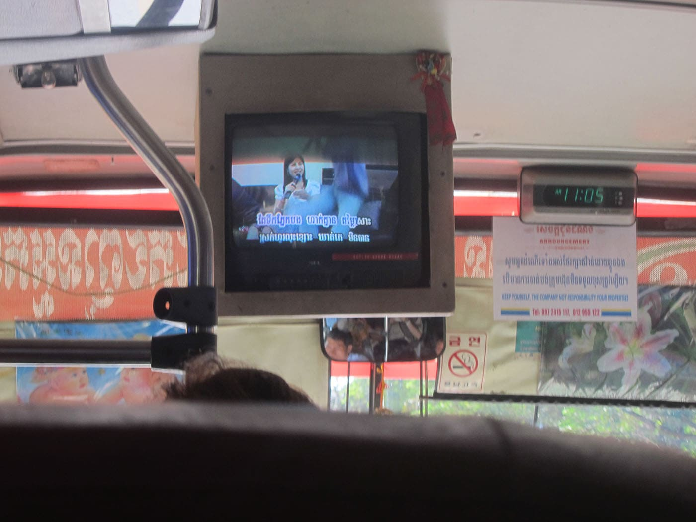 karoke on Cambodian buses