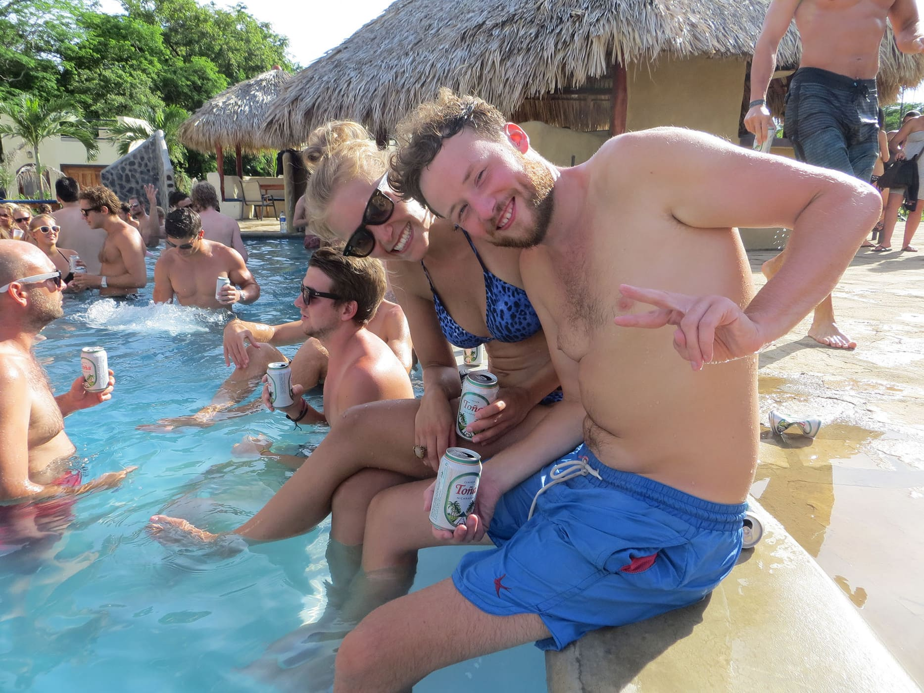 Hanging out by the pool at the Sunday Funday Pool Crawl in San Juan Del Sur, Nicaragua