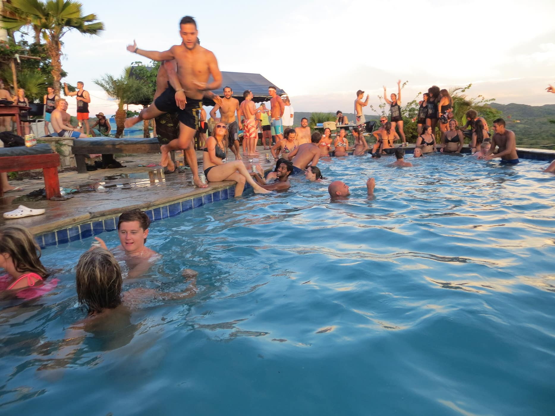 Thrown in the pool at the Sunday Funday Pool Crawl in San Juan Del Sur, Nicaragua