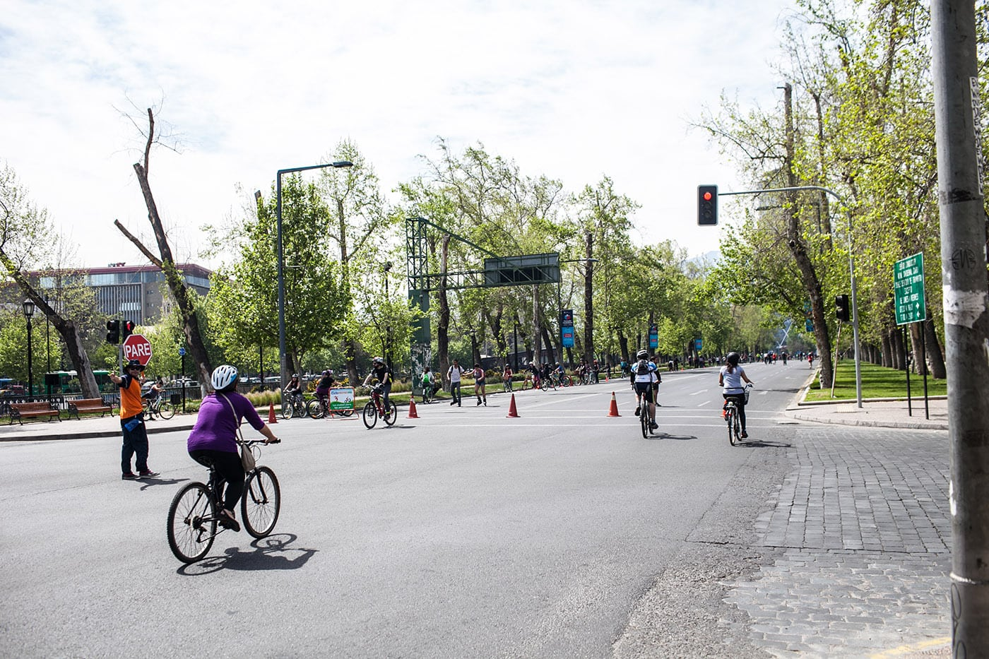 Blocked off streets for cyclists in Santiago, Chile