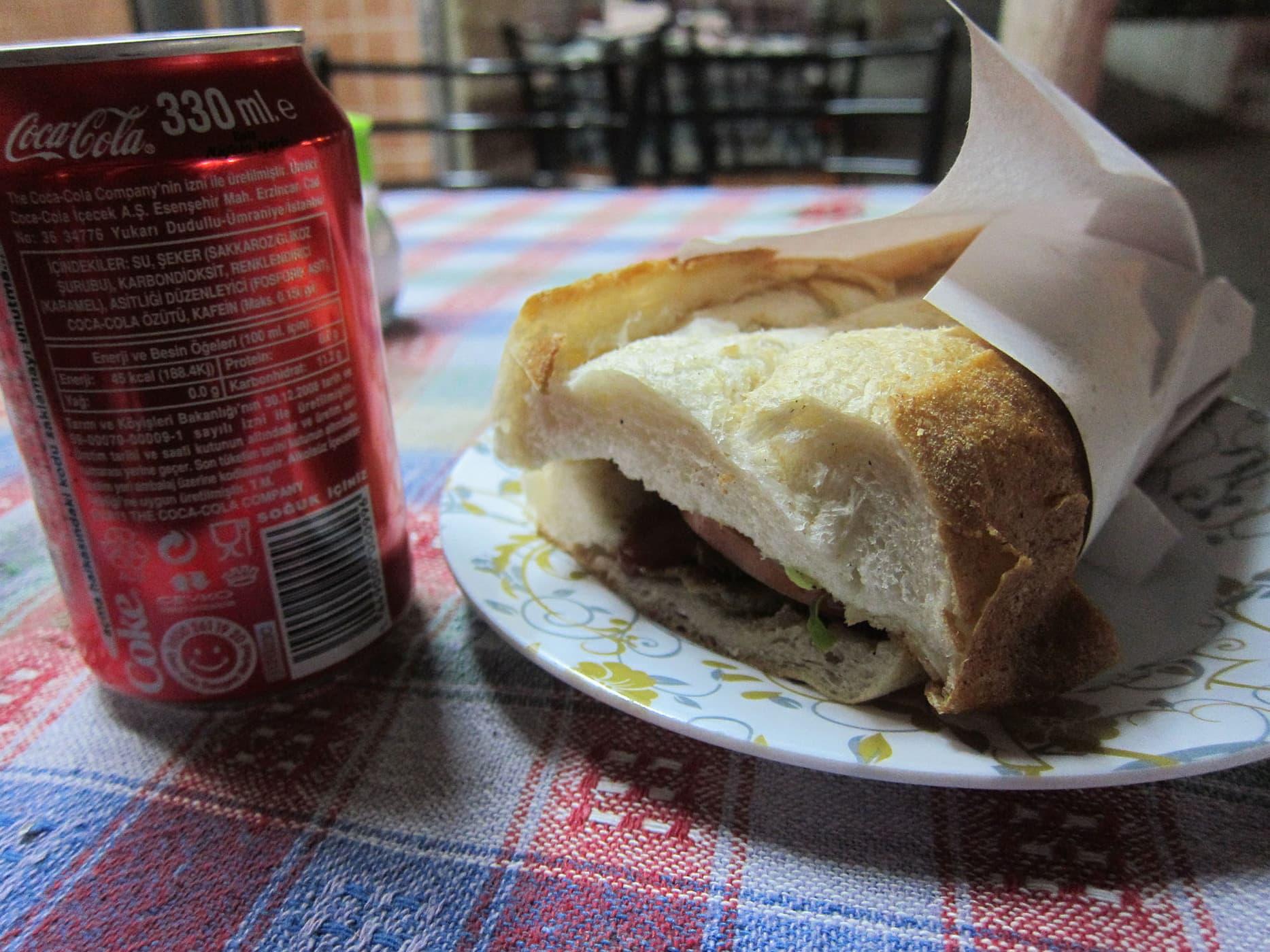 Meat sandwich in Selcuk, Turkey
