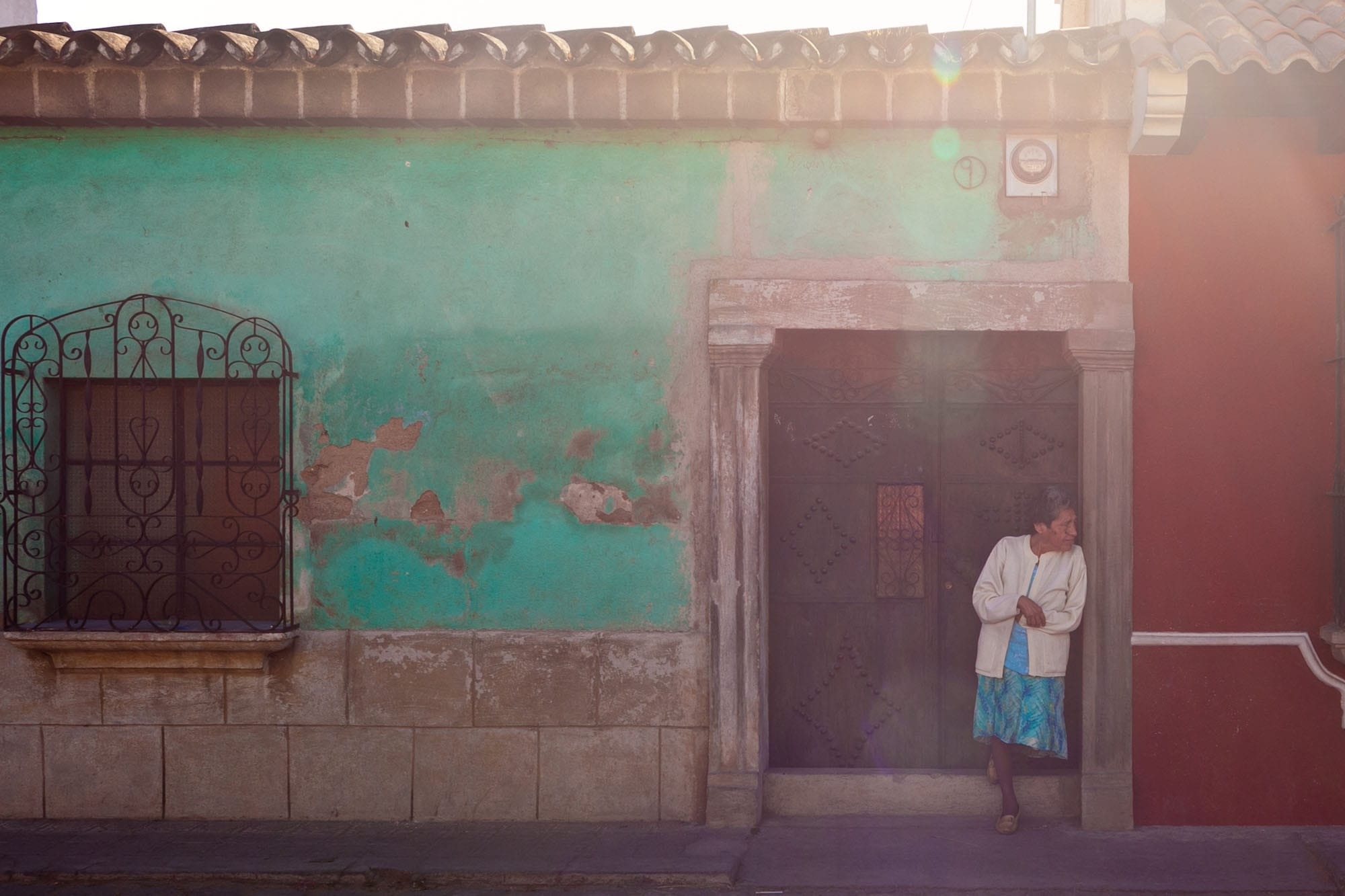 Woman leaning in Antigua, Guatemala