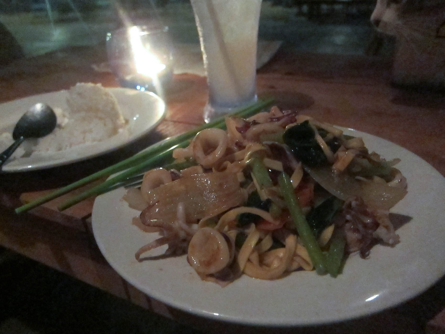 Squid and noodles in Sihanoukville, Cambodia