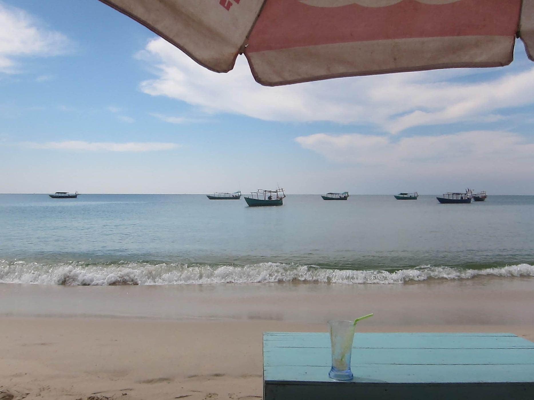 Sitting on the beach in Sihanoukville, Cambodia
