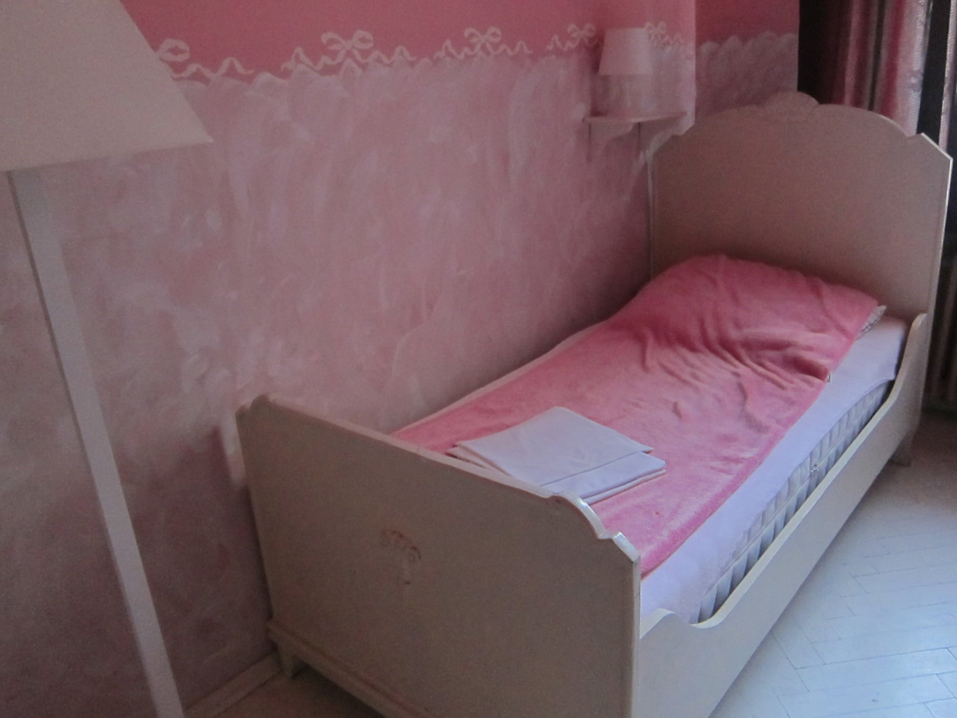 Pink room in a hostel