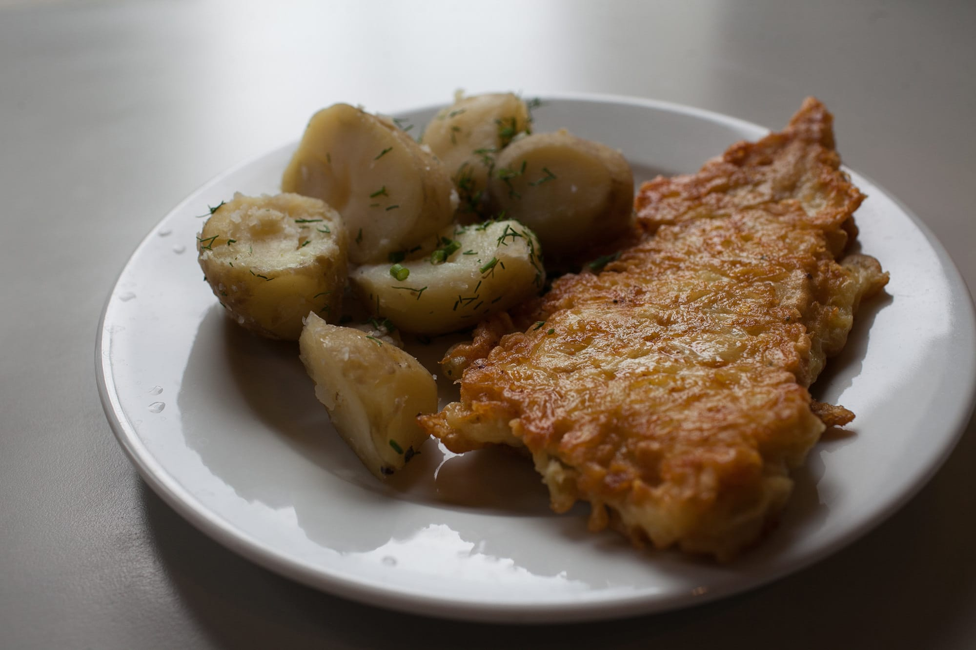 Fried fish in Warsaw, Poland.