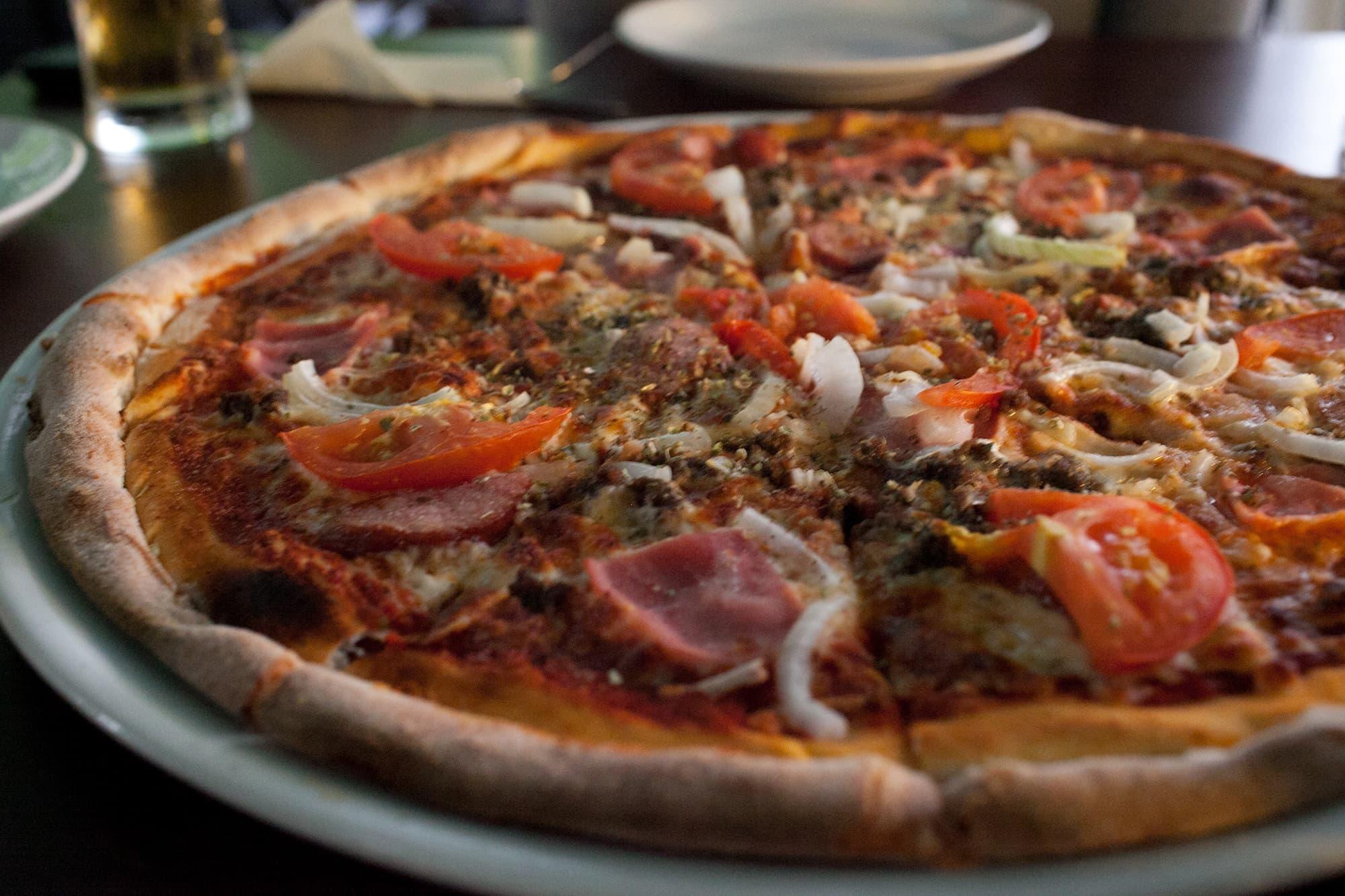 Pizza in Warsaw, Poland.