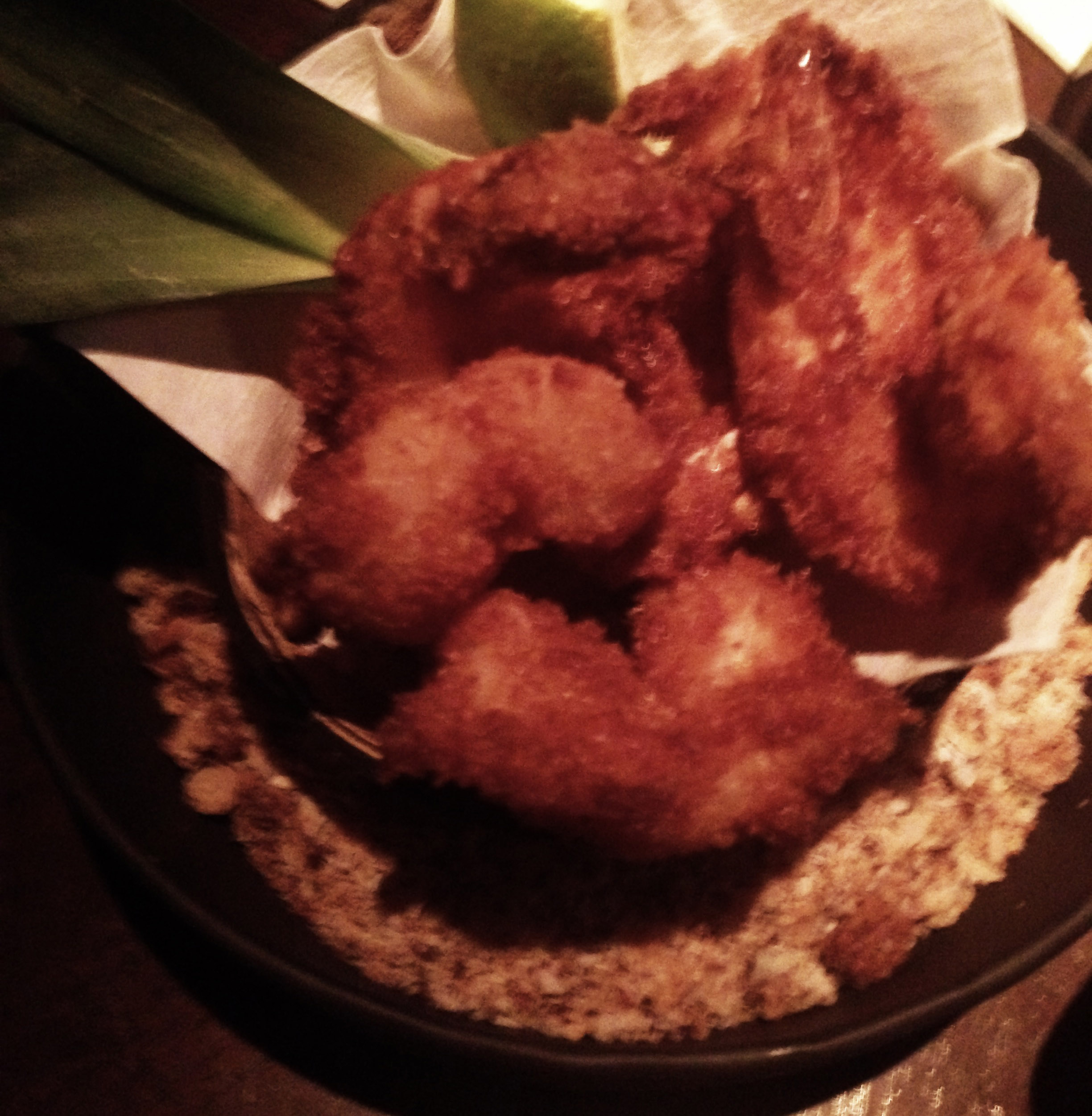 Coconut shrimp at Three Dots and a Dash